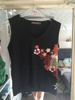 Top von S.Oliver in schwarz mit bunten Blumenprint Größe 34