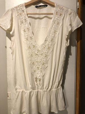 Zara Top en maille crochet crème-blanc cassé