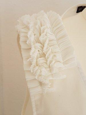 Zara Top z falbankami w kolorze białej wełny