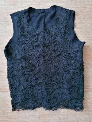 Zara Basic Koronkowy top czarny