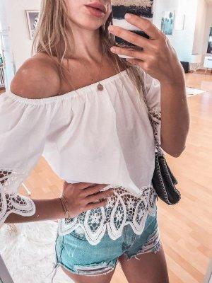 Top weiß bandeau schulterfrei rüschen boho bohemian princess Polly XS/S ibiza style Bluse Oberteil