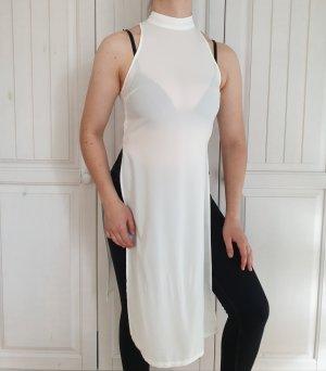 Top Weiß Missguided 34 XS Weiß Kleid T-Shirt Bluse Hemd Highneck T-Shirtkleid