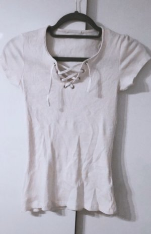 Top weiß oberteil shirt tank top bluse tshirt hemd schnur