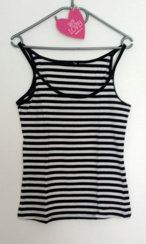 Top white & black Streifen Stretch Gr. M