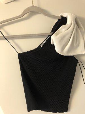 Zara Haut avec une épaule dénudée noir-blanc