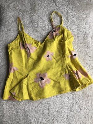 Zara Top tipo bustier amarillo-rosa