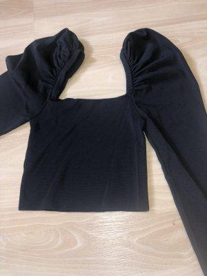 Zara Top recortado negro tejido mezclado