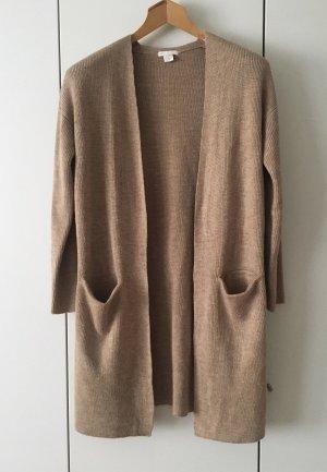 Top Zustand: Lange Strickjacke von H&M Blogger dunkles Beige/Camel Gr. XS Taschen