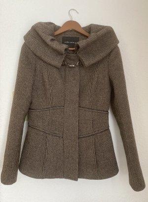 Zara Wełniany sweter brąz-ochra Wełna