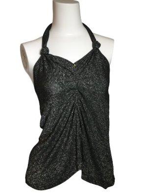Top estilo halter color plata-negro