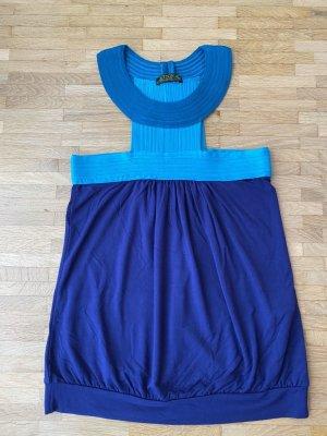 Off-The-Shoulder Top turquoise-steel blue mixture fibre