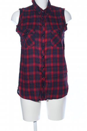 Topshop ärmellose Bluse rot-blau Allover-Druck Casual-Look