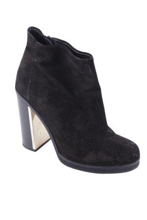 Topshop Ankle Boots schwarz-goldfarben Metallelemente