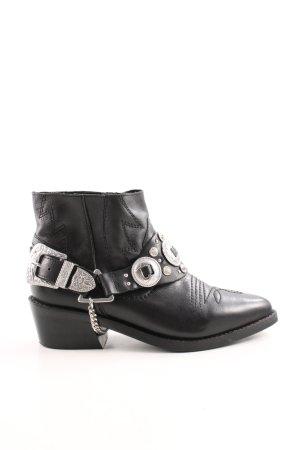 Topshop Ankle Boots schwarz-silberfarben Glitzersteinverzierung