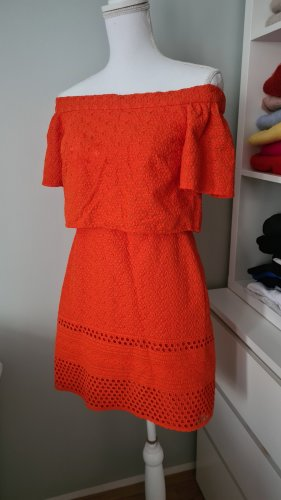 Topshop Asos Orange Neon Rot 38 M Off Shoulder Schulterfrei Kleid