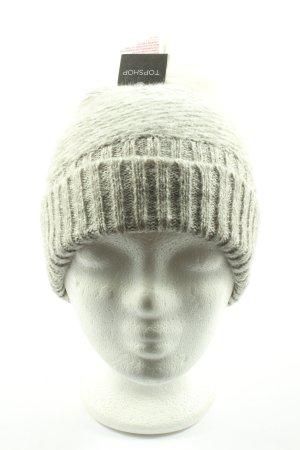 Topshop Bonnet gris clair-kaki moucheté style décontracté