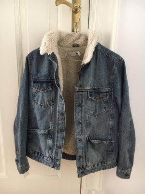 Topshop Veste en jean gris ardoise-bleu