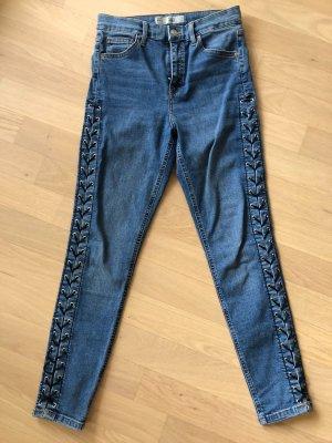 Topshop Blaue Stretch Jeans mit Schnürung & Ösen
