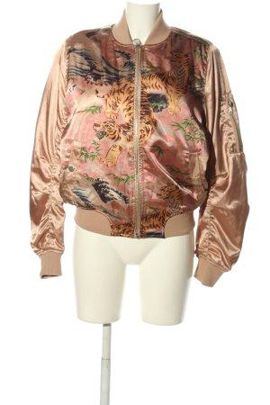 Topshop Blouson braun-pink Motivdruck Casual-Look