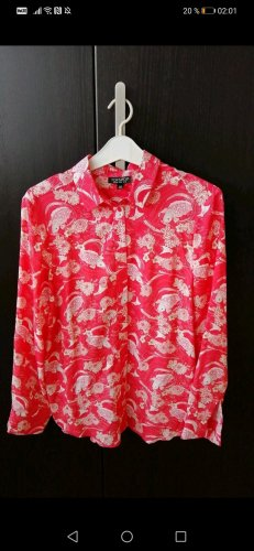 Topshop Long Sleeve Blouse white-bright red
