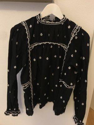 Topshop Blusa de manga larga blanco-negro