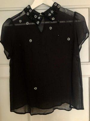 Topshop Bluse mit besticktem Perlenkragen