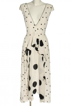 Topshop Blusenkleid wollweiß-schwarz Punktemuster Elegant