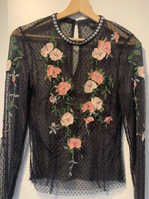 Topshop Transparante blouse zwart-stoffig roze