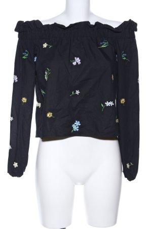 Topshop Carmen-Bluse schwarz Blumenmuster Casual-Look