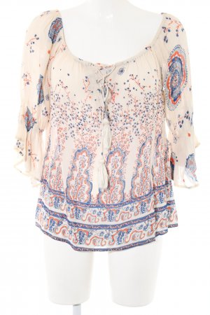 Topshop Carmen-Bluse creme-blau abstraktes Muster Casual-Look