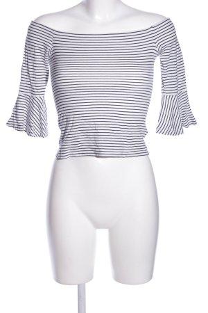 Topshop Carmenshirt weiß-schwarz Streifenmuster Casual-Look
