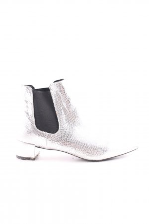 Topshop Chelsea Boots silberfarben-schwarz Elegant