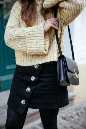 Topshop cropped Jumper Grobstrick Pullover gelb meliert Trend Winter Blogger Gr. 38
