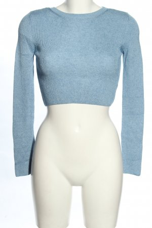 Topshop Cropped Pullover blau Zopfmuster Casual-Look