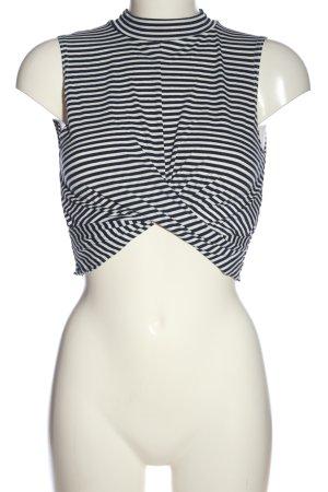 Topshop Cropped Shirt weiß-schwarz Streifenmuster Casual-Look