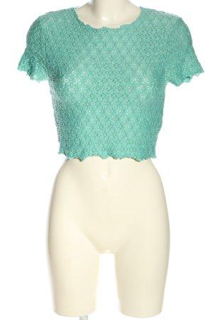 Topshop Cropped Shirt türkis Casual-Look