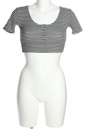 Topshop Cropped Shirt schwarz-weiß Streifenmuster Casual-Look
