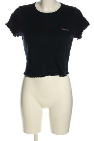 Topshop Cropped Shirt schwarz Schriftzug gedruckt Casual-Look