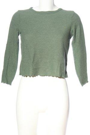 Topshop Cropped Shirt grün meliert Casual-Look