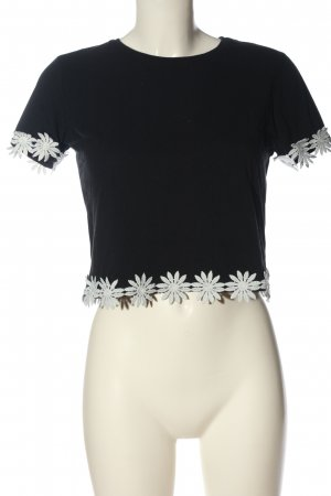 Topshop Cropped Shirt black-white flower pattern casual look