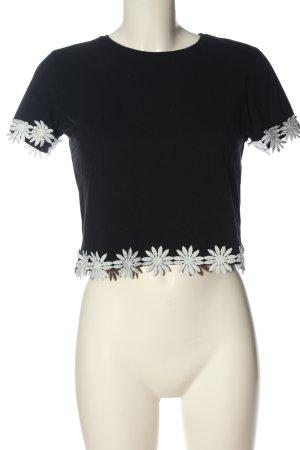 Topshop Cropped Shirt schwarz-weiß Blumenmuster Casual-Look