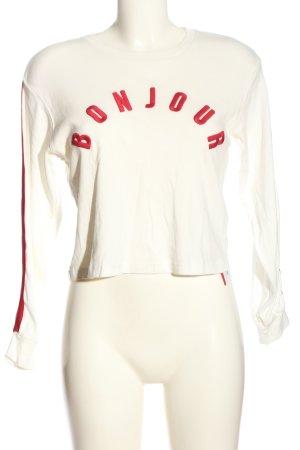 Topshop Cropped Shirt weiß-rot Schriftzug gedruckt Casual-Look