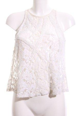 Topshop Haut cut-out blanc motif de fleur style décontracté