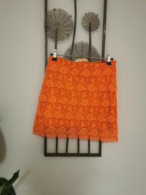Topshop Damen Minirock Spitzenrock Blumen Spitze orange Größe 34