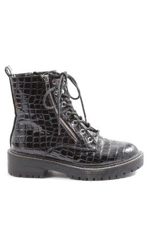 Topshop Chukka boot noir motif animal style décontracté