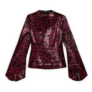 Topshop Designer Kollaboration mit Halpern Party Pailletten Bluse Top Silvester Weihnachten neu Gr. 38 Blogger Influencer