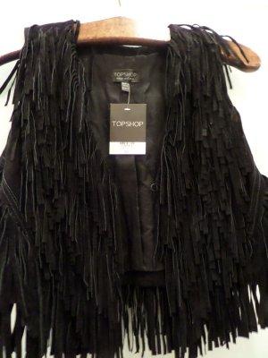 Topshop Smanicato in pelle nero Pelle