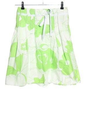 Topshop Faltenrock weiß-grün Allover-Druck Casual-Look