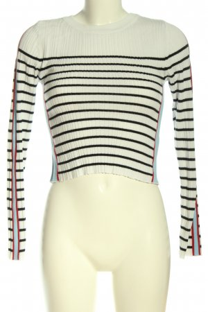 Topshop Feinstrickpullover weiß-schwarz Streifenmuster Casual-Look