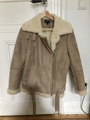 Topshop Fellmantel in Beige Gr. 36